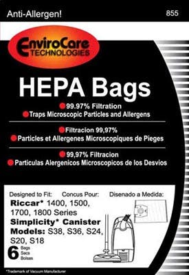 Simplicity Type H Hepa Bags For S38 S36 S24 S20 S18