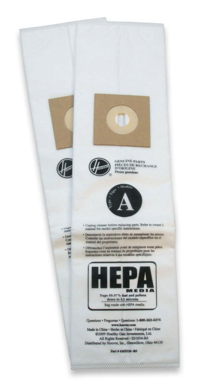 Hoover Type A Hepa Vacuum Bag 2 Pack Ah10135