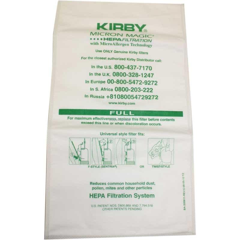 Kirby Vacuum Universal Fit Allergen Reduction Bags 6 Pack Genuine