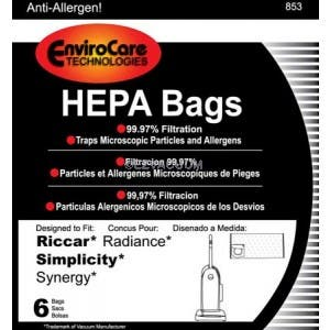 Simplicity Type X HEPA Synergy Vacuum Cleaner Bag 6 Pack SXH-6 For The G9//X9