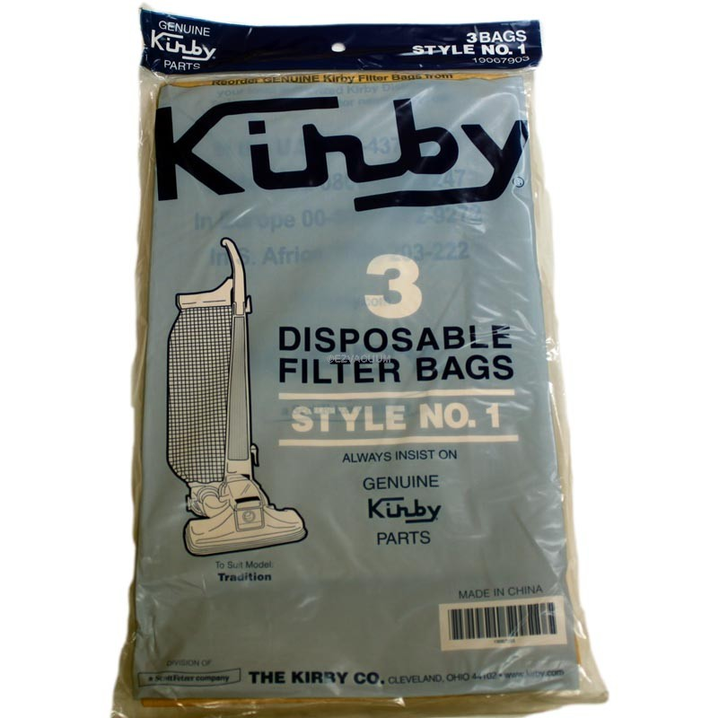 3 pack Kirby Tradition Style 1 19067903 Bag Vacuum Cleaner Bags 3CB Genuine
