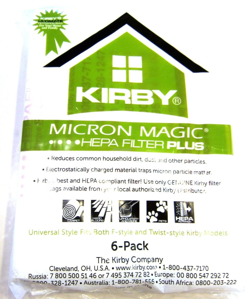 204814g Kirby Microallergen Plus 6pk Upright Fits Gen 3 Thru Avalir Hepa