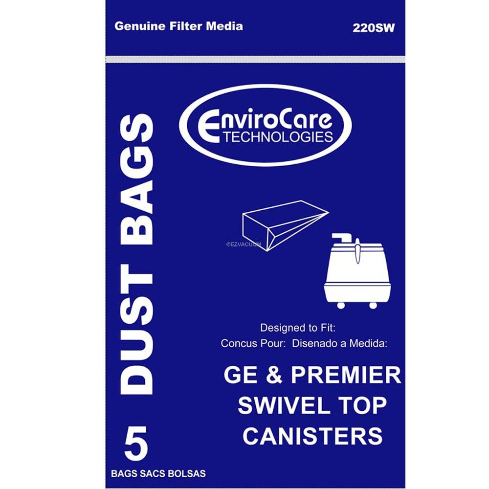 GE C Series 405329 Vacuum Bags for Premier Whirlwind Swivel Top Canister - 30 Bags