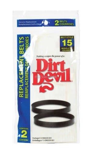 Dirt Devil 3-SN0220-001 Style 15 Vacuum Cleaner Belt - 2 pack