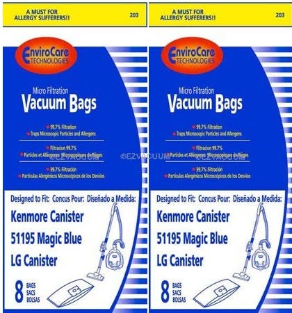 16 Kenmore Type M 51195 Magic Blue Vacuum Bags By Envirocare Technologies