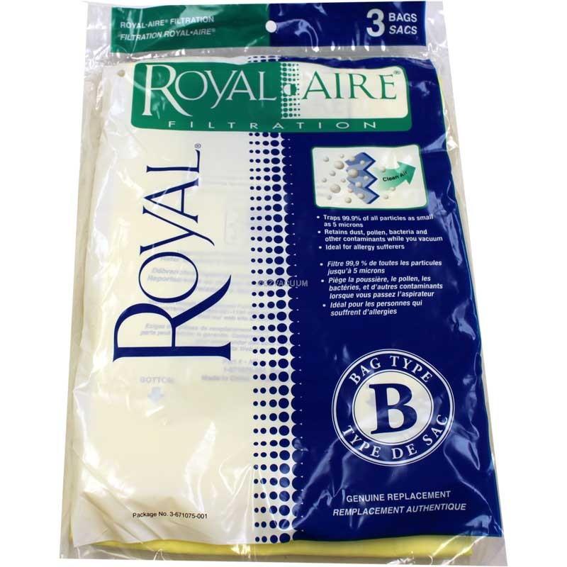 Royal / Dirt Devil Type B Metal Upright  Vacuum Bags 3-671075-001 - Genuine  - 3 Pack