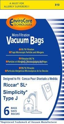 Riccar Rslp 6 Type J Vacuum Cleaner Bags For Supralite