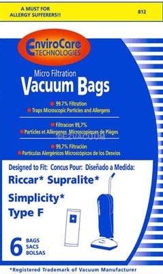Riccar Supralite Type F Micro-Filtration Vacuum Bags - Generic - 36 pack