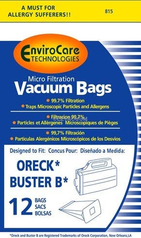 Oreck PKBB12DW Compact Canister Buster B Bag - Generic - 36 Bags