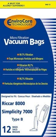 Riccar  Upright Micro-Lined Anti-Bacterial Vacuum Bags - 60 bags (6 Packs of 10)