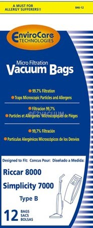 Riccar C15 Type B Vacuum Bags for 8000, 8600, 8900 Series -  12 Pack
