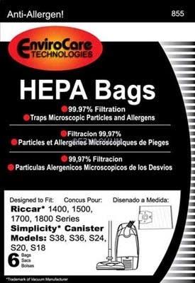 Riccar 14/15/17/18 series HEPA replacement paper bags. - 6 pack, RHH-6