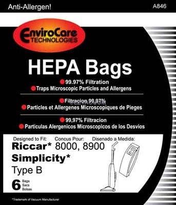 Riccar Type B HEPA Vacuum Bags for 8000, 8900 Series, Simplicity Type B