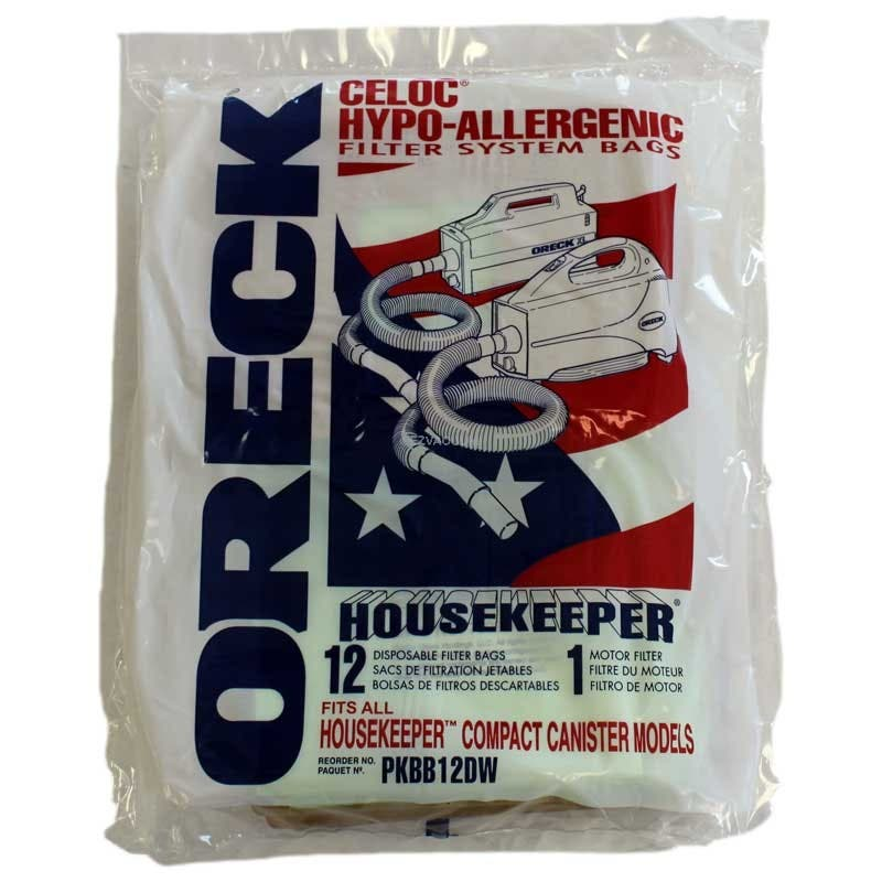 Oreck Pkbb12dw Compact Canister Buster B Hypo Allergenic Genuine 12 Bags 1 Filter Pack