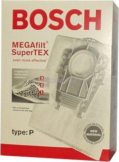 Bosch Type P MEGAfilt Super TEX Vacuum Cleaner Bags BBZ52AFP2U - 5 pack