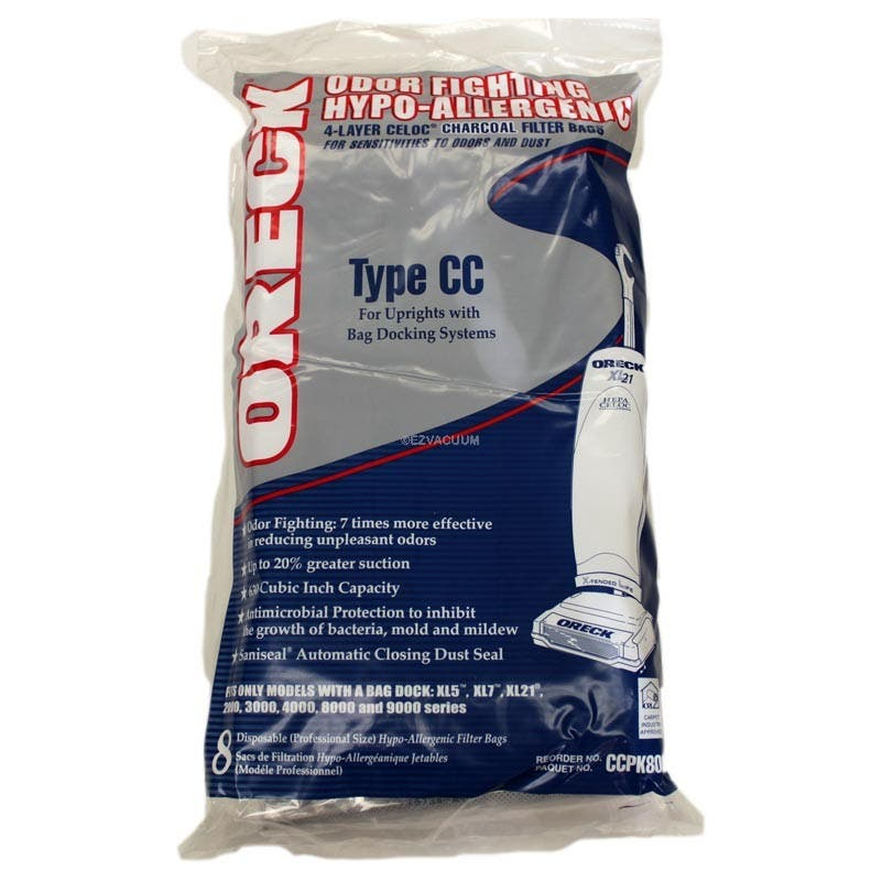 Oreck TYPE CC Odor Fighting Vacuum Bags CCPK8OF / CCPK80H - 8 pack - Genuine