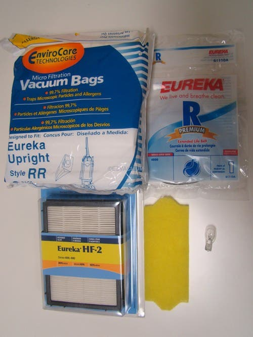 Eureka Ultra Smart Vac Uprights 4870 Series Tune Up Kit - 6 RR Bags, 1 R Belt, Motor Filter, 1 HF2 Filter and 1 Bulb