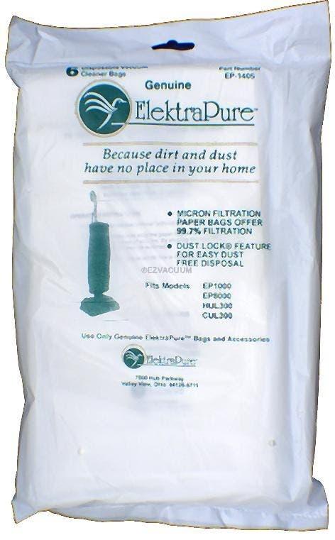 ElektraPure EP-1405 Upright vacuum cleaner bags- Genuine - 6 pack