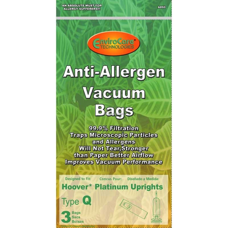 Hoover Style Q AH10000 Platinum Collection UH30010COM Allergen Filtration Vacuum Bags - 3 Pack