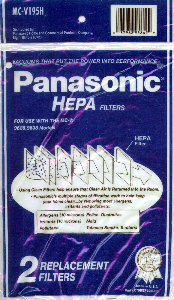 Panasonic MC-V195H Canister HEPA Filter for V9628 / V9638 - 2 Pack