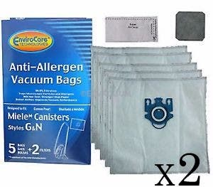 10 Replacement Miele Vacuum bags for S434 White Pearl & 4 Filters