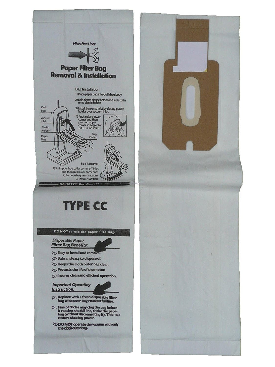 Oreck CCPK8, CCPK8DW TYPE CC Upright  Vacuum Bags for XL7, XL21 - 8 Pack