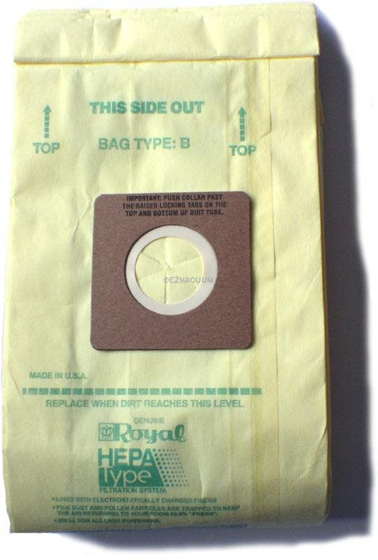 Royal Type B HEPA Filtration 3-871075-001 Vacuum Bags - Genuine - 3 pack