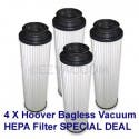 4 Pack Hoover 40140201 Replacement Long-Life HEPA Cartridge Filter - Fits all Hoover Bagless Uprights