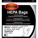 Riccar C13 HEPA Vacum Bags for 2000, 4000 and Vibrance Series - 6 Pack