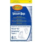 Riccar RSLP-6 Type J Vacuum Cleaner Bags for Supralite Plus Canister - 6 Pack