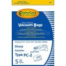Sharp PC-2 Canister Vacuum Bags. Also replaces EC-PC4 - Generic - 5 pack