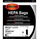 Riccar RFH-6, RSLH-6 Supralite Type F HEPA Filtration Vacuum Cleaner Bags - 6 Pack