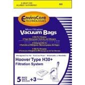 Hoover H30 Telios Vacuum  Bags 40101001, 09169855 - Generic  - 5 bags + 1 filter / pack