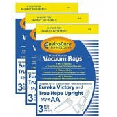 1 X Eureka Victory and True Hepa Upright Style AA Vacuum Bags Microfiltration with Closure - 9 Pack