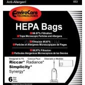 Riccar C20-6, RXH-6 HEPA Type X Vacuum Cleaner Bags for Radiance Uprights - 6 pack