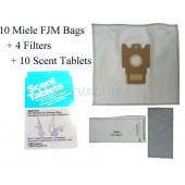 Miele Type F, J  M (FJM) HEPA Cloth Vacuum Cleaner Dustbags 10 Bags 4 Filters 10 Scent Tablets. Replaces Miele part 7291640 - Generic