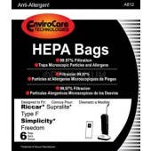 Riccar/Simplicity Type F SF6 Supralite Freedom HEPA  Bag - 6 Pack