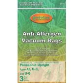 Panasonic U, U3 and U6 Anti-Allergen HEPA Cloth Bags - 3 pack