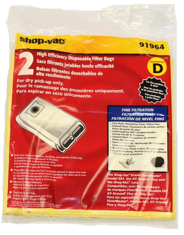 Shop Vac 91964 Type D 4 Gallon Vacuum Bags For All Around