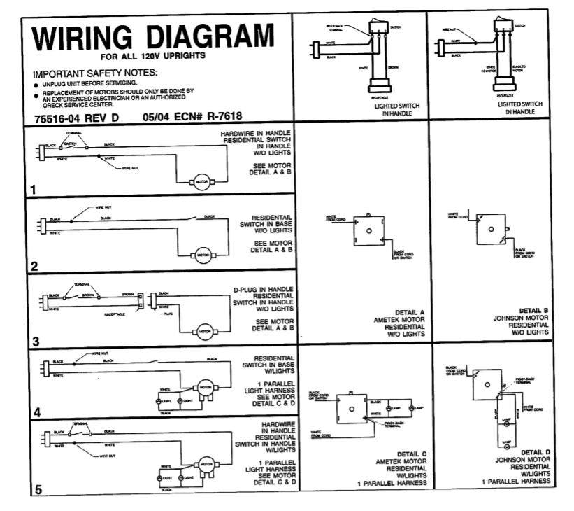 [SCHEMATICS_49CH]  Oreck Upright Motor for XL100, 9100, 9200. Part 097550501 / 097553501 | Oreck Handle Wiring Diagram For |  | EZVacuum.com