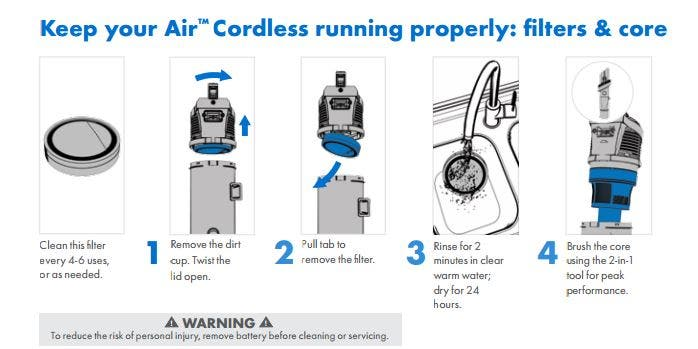 Maintenance of Hoover Air Cordless Vacuums